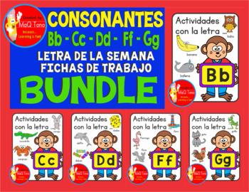 LETRA DE LA SEMANA  BUNDLE CONSONANTES Bb - Cc- Dd - Ff = Gg