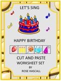 Birthday Cut and Paste Activities, Special Education, Kindergarten, Preschool