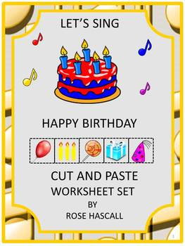 Birthday Cut and Paste Math & Literacy Centers Worksheets NO PREP