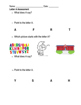 LETTER A Special Education ASSESSMENT