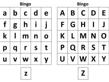 LETTER BINGO LOWERCASE AND UPPERCASE