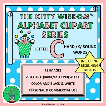 LETTER C CLIP ART Alphabet Beginning Sounds – 82 Images / 23 Hard C /K/ Words