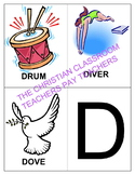 LETTER D PICTURE AND WORDS FLASHCARDS