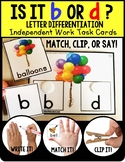 """LETTER DIFFERENTIATION Task Cards Lowercase Letters b and d """"TASK BOX FILLER"""""""