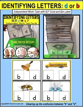 "LETTER DIFFERENTIATION Task Cards Lowercase Letters b and d ""TASK BOX FILLER"""