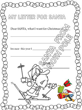 LETTER FOR SANTA - WRITING AND COLORING PAGES WITH CARTOON DESIGN FOR CHRISTMAS