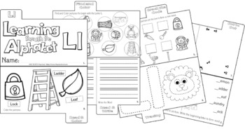 LETTER Ll (ACTIVITY TAB BOOK) PRINT FOLD and GO