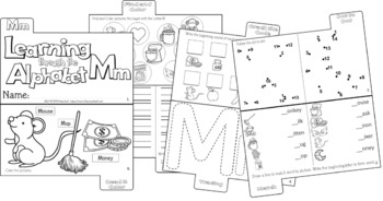 LETTER Mm (ACTIVITY TAB BOOK) PRINT FOLD and GO