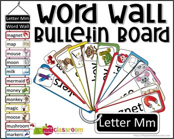 LETTER Mm WORD WALL - LETTER RING CARDS - BULLETIN BOARD