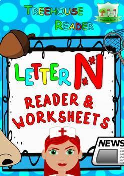 LETTER N - ACTIVITY PACK - Reader, Flashcards, Worksheets
