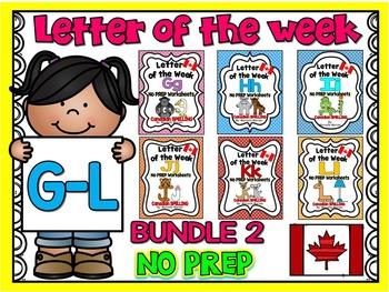 LETTER OF THE WEEK- NO PREP BUNDLE 2- LETTERS G, H, I, J, K, L