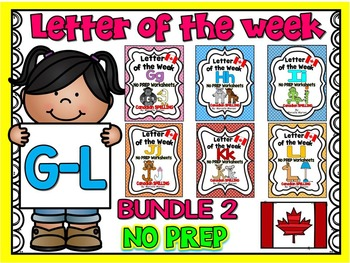 ALPHABET WORKSHEETS BUNDLE- NO PREP BUNDLE 2- LETTERS G, H, I, J, K, L
