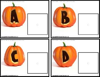 "LETTER RECOGNITION TASK CARDS Pumpkin Theme ""Task Box Filler"" for Autism"