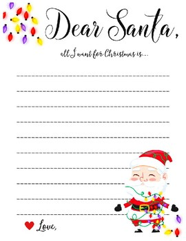 Letter To Santa Template Worksheets Teaching Resources Tpt