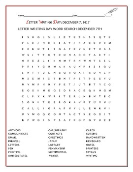 LETTER WRITING DAY WORD SEARCH/ DECEMBER 7TH