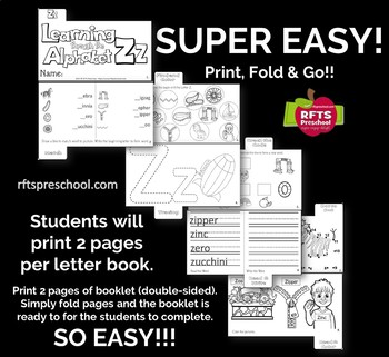 LETTER Zz (ACTIVITY TAB BOOK) PRINT FOLD and GO