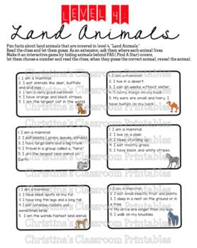 """LEVEL 4: Land Animals """"Who am I?"""""""
