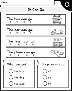LEVEL A Reading Comprehension Passages - Kindergarten