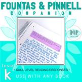 LEVEL K READING RESPONSE PROMPTS
