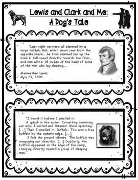 LEWIS and CLARK and ME A Dog's Tale Point of View Comparison Graphic Organizer