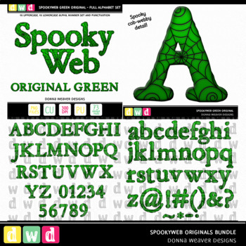 Printable Halloween Alphabet SPOOKY WEB Original BUNDLE Letters Numbers