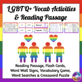 LGBTQ+ Vocabulary Activities and Reading Passage about Gay
