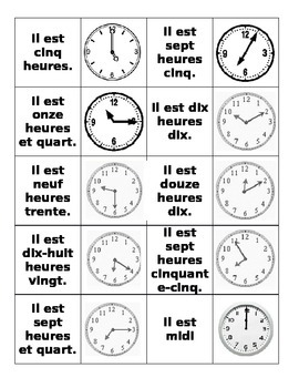 L'Heure: French Time Matching or Go Fish! Game