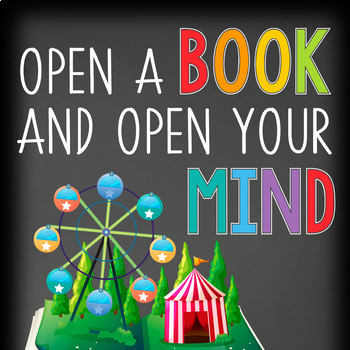 library CHALK - Classroom Decor: SMALL BANNER, Open A Book and Open Your