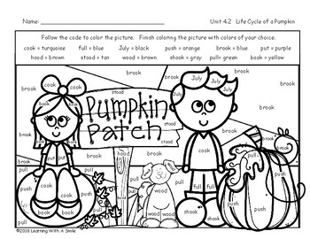 LIFE CYCLE OF A PUMPKIN Color by Word FREEBIE Second Grade