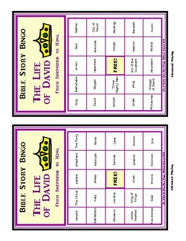 LIFE OF DAVID - Bible Story Bingo Game - for up to 30 players!