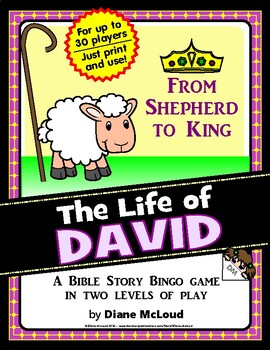 DAVID, King of Israel - Bible Story Bingo Game - for up to 30 players!
