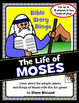 LIFE OF MOSES - Bible Story Bingo Game—for up to 32 players!