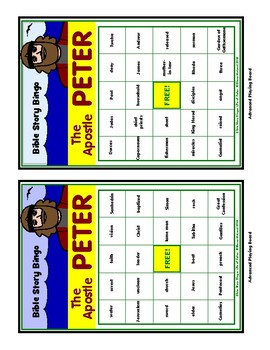 LIFE OF PETER - Bible Story Bingo Game - for up to 30 players