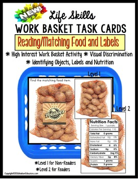 LIFE SKILLS Reading Nutrition Labels and Matching Work Tas