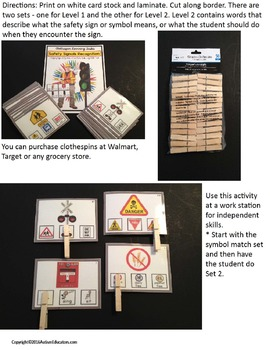 LIFE SKILLS Safety Signs and Symbols 48 Task Card Set for Autism