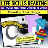 "LIFE SKILLS Task Cards For COLOR WORDS ""Task Box Filler"" for Special Education"