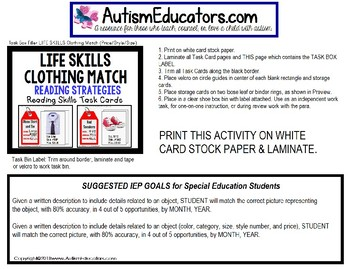 "LIFE SKILLS Task Cards For Matching Clothing Sales Tag ""Task Box Filler"" Autism"