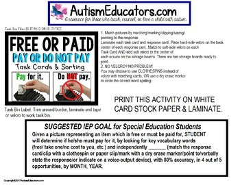 """LIFE SKILLS Task Cards Is it FREE or DO I NEED TO PAY """"Task Box Filler"""" AUTISM"""