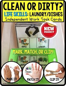"LIFE SKILLS Task Cards LAUNDRY and DISHES Clean or Dirty ""Task Box Filler"""