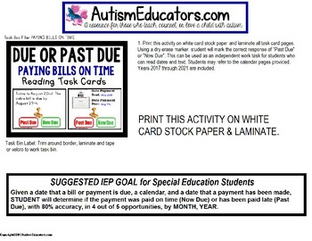 "LIFE SKILLS Task Cards PAYING BILLS BY DUE DATE ""Task Box Filler"" for Autism"