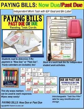 """LIFE SKILLS Task Cards PAYING BILLS BY DUE DATE """"Task Box Filler"""" for Autism"""
