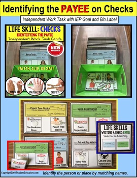 "LIFE SKILLS Task Cards for Upper Grades IDENTIFY CHECK PAYEE ""Task Box Filler"""