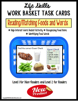 LIFE SKILLS Work Task Basket - Reading and Matching Food Words-Special Education
