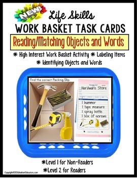LIFE SKILLS Work Task PACKING SLIP Functional Reading and Matching for Autism
