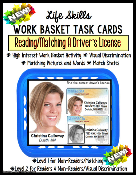 LIFE SKILLS Work Task – DRIVER'S LICENSE Functional Reading  and Matching-Autism