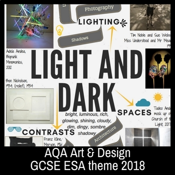 LIGHT AND DARK - theme mind-map interactive artist links - AQA GCSE ESA 2018