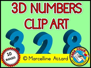 3D NUMBERS CLIPART: LIGHT BLUE SOLID SHAPES CLIPART NUMBERS: MATH CLIPART