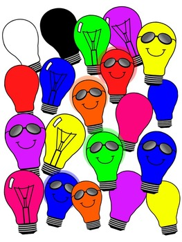 LIGHT BULB CLIP ART * COLOR AND BLACK AND WHITE