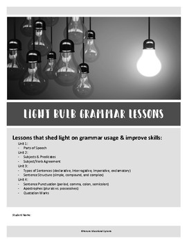 LIGHT BULB GRAMMAR LESSONS packet