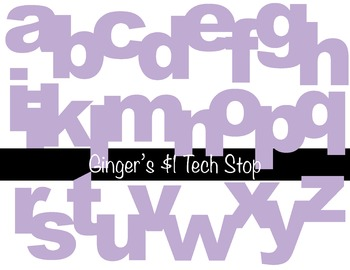 LIGHT / PASTEL PURPLE * Bulletin Board Letters * Lower * A